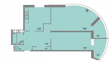 Планировка Двухкомнатная квартира площадью 78.2 кв.м в ЖК «Шуваловский park»