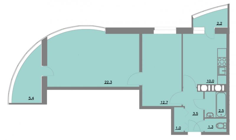 Планировка Двухкомнатная квартира площадью 60.9 кв.м в ЖК «Шуваловский park»
