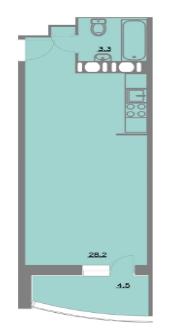 Планировка Однокомнатная квартира площадью 36 кв.м в ЖК «Шуваловский park»