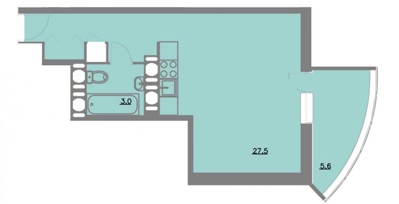 Планировка Однокомнатная квартира площадью 36.1 кв.м в ЖК «Шуваловский park»