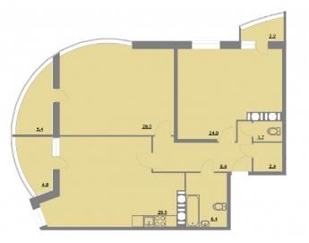 Планировка Двухкомнатная квартира площадью 114.8 кв.м в ЖК «Шуваловский park»