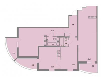 Планировка Трёхкомнатная квартира площадью 114.8 кв.м в ЖК «Шуваловский park»