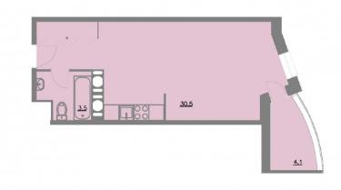 Планировка Однокомнатная квартира площадью 38.1 кв.м в ЖК «Шуваловский park»