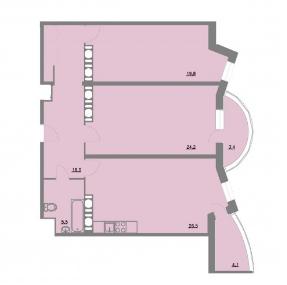 Планировка Двухкомнатная квартира площадью 100 кв.м в ЖК «Шуваловский park»