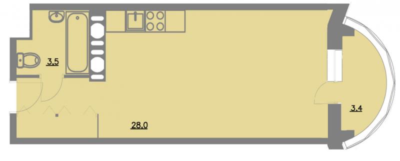 Планировка Однокомнатная квартира площадью 33.2 кв.м в ЖК «Шуваловский park»