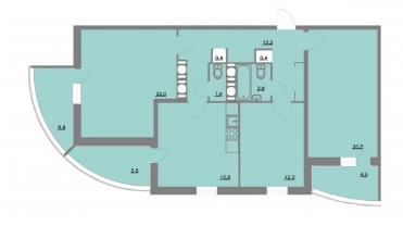 Планировка Трёхкомнатная квартира площадью 104.4 кв.м в ЖК «Шуваловский park»