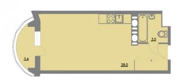 Планировка Однокомнатная квартира площадью 34.9 кв.м в ЖК «Шуваловский park»
