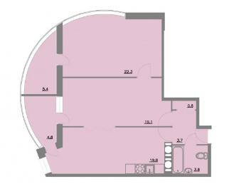 Планировка Двухкомнатная квартира площадью 79.7 кв.м в ЖК «Шуваловский park»